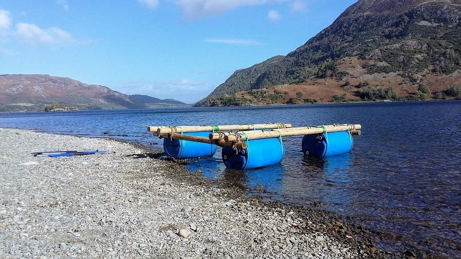 Raft with poles and barrels on Ullswater