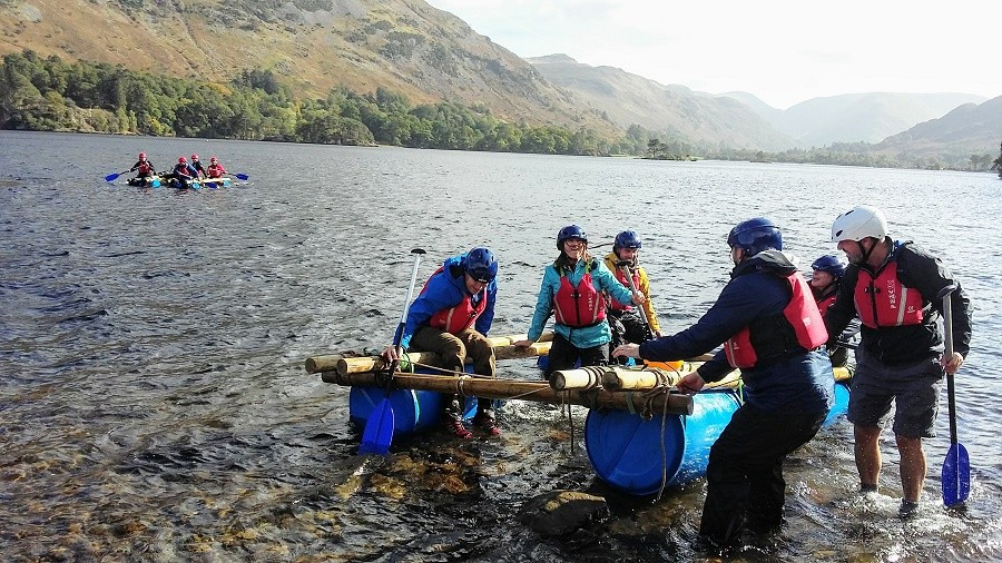 Fun on the raft in Cumbria