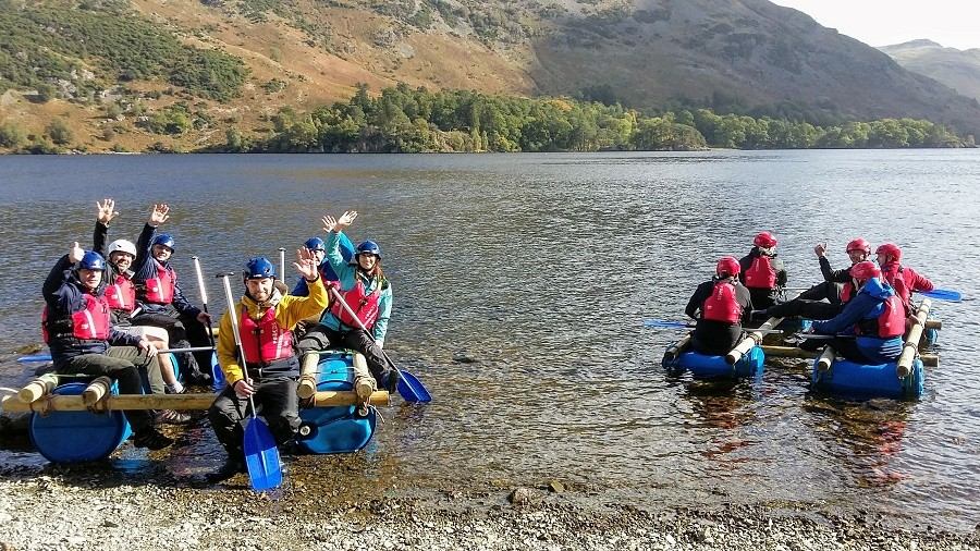 Team Raft Building on Ullswater